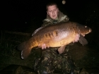 Simon Gilbert 24lbs 8oz Carp, Premier baits.. Fishing to snags on adjacent bank in approx. 6-7ft (weedy)
