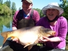 Linda Miller 51lbs 8oz Miror from millers french fishing holidays- Etang Hirondelle