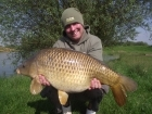 Mark Woolley 20lbs 2oz Common Carp. Mark Woolley with a 20lb Common carp caught on a 6ft Zig made from Korda Mixa size 10 hook and 8lb Kruiser line.