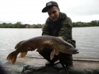Sam Burley 8lbs 0oz Pike. Reeling in my boilie this greedy bugger decided he wants a piece