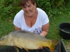 Cheryl Axten 16lbs 10oz Mirror Carp from Mas Bas - Angling Lines Holidays using Quest Baits Rahja Spice.