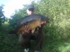 Raymond Oultram 21lbs 4oz Mirror Carp. Tight against lilly's on the left side of the swim.