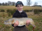 William Fletcher 13lbs 13oz Pike from Secret Lake using Lucebaits Smelt.. Part of a 4 fish catch with a total weight of 54lbs!  Caught from Dam Wall area. Used a Shimano Rod & Reel, 15lbs Daiwa Line,