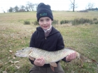 William Fletcher 6lbs 3oz Pike from Secret Lake using Lucebaits Lamprey.. Fish number one from a 4 fish catch totalling 54lbs. Taken from the Dam Wall Swim in 4 feet of water on the edge of a