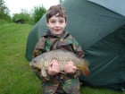 William Fletcher 4lbs 4oz Common Carp from Birch House Lakes. 8 metre pole fished towards overhanging bush. 5lbs mainline straight through to size 16 hook.