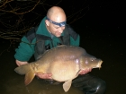 38lbs 0oz Mirror Carp from Sweet Chestnut Lake using Mistral Crab and Crawfish 15mm.. Standard semi-fixed set up, fishing in silt, 10 metres off jetty, with just one rod. Area pre-baited by hand with