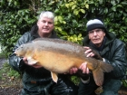 Jeff Lancaster 35lbs 0oz Mirror Carp from Cuttle Mill Carp Fishery using cm1 wafter.. fished short from peg 16 with a cm1 wafter,my 76 year old dad caught this new pb.