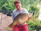 Kieron Axten 19lbs 8oz Common Carp from Cuttle Mill Carp Fishery using Nutrabaits Big Fish Mix with Black Pepper and Caviar.. Neville's swim down towards the pads