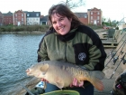Cheryl Axten 16lbs 9oz Mirror Carp from Drayton Reservoir using Mainline Milky Toffee Pop Up.. A great day was had by all. Tim had 3 fish 15.12,17.5 & 7lb. Dan had 3 fish 12,13 & lovely scale pattern