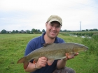 8lbs 6oz Barbel from River Dove using Plumrose.. Part of a 8 fish catch when river coloured.  Used Greys X-Flite barbel rod, Shimano 5000GT reel, 12lbs Reel line, 10 Flourocarbon to size 6 strong